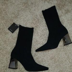 Zara nwt sock boots metallic heel